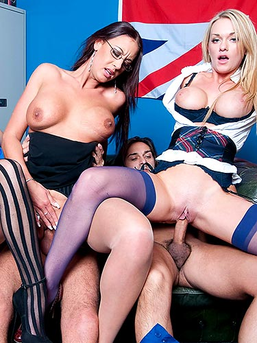 Paige Ashley in the middle of a 6 person orgy with Emma Butt and Stacey Saran